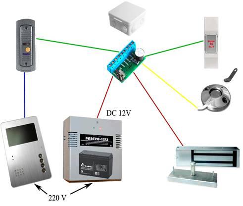 схема подключения домофона с магнитным замком